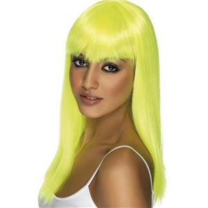 Long Neon Yellow Glamourama Lady Pop Star Wig with Bangs