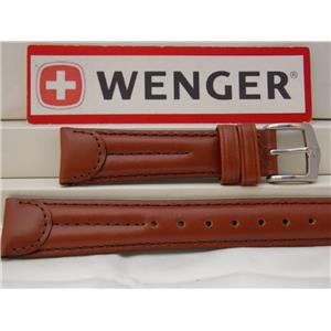 Wenger Watch Band 90000 Brown Leather 19mm Double Row Padded Outline Stitched