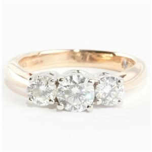 Ladies 14k Yellow Gold & Platinum Three-Stone Diamond Engagement Ring .96ctw