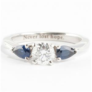 Ladies 18k White Gold Diamond & Sapphire Three-Stone Engagement Ring 1.1ctw