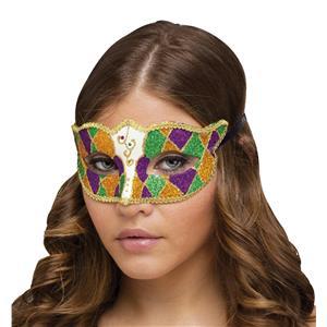 Shimmering Glitter Harlequin Gold Green Purple Diamond Shape Mardi Gras Eye Mask