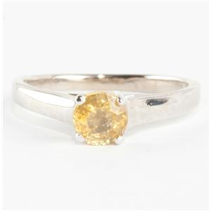 Ladies 14k White Gold Round Cut Yellow Sapphire Solitaire Engagement Ring .70ct