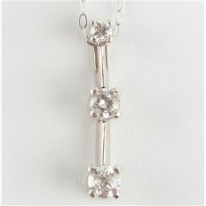 "Ladies 14k White Gold Round Cut Diamond Pendant W/ 18"" Chain .20ctw"