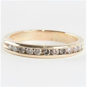 14k Yellow Gold Round Cut Channel Set Diamond Wedding / Anniversary Band .44ctw