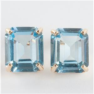 Ladies 14k Yellow Gold Emerald Cut Blue Topaz Solitaire Stud Earrings 6.5ctw