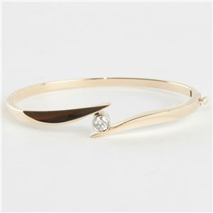 Ladies 14k Yellow Gold Round Cut Diamond Solitaire Hinged Bangle Bracelet .47ct