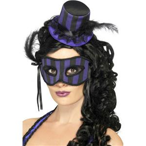 Women's Grotesque Purple and Black Striped Burlesque Hat and Eyemask Set
