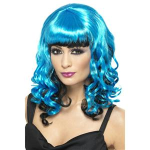 Women's Blue and Black Tainted Garden Stricken Angel Shoulder Length Curly Wig