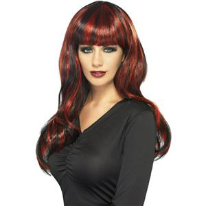 Sinister Siren Black and Red Adult Wig