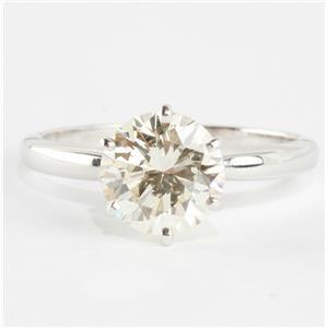 Ladies 14k White Gold Round Cut Diamond Solitaire Engagement Ring 1.60ct