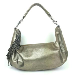 Authentic JUICY COUTURE VINTAGE Gold Metallic Leather Hobo Bag Chains Crystals
