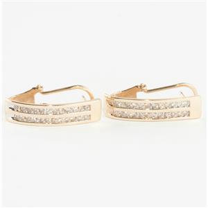 Ladies 14k Yellow Gold Round Cut Diamond Dangle Earrings W/ Omega Backs .36ctw