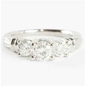 Ladies Stunning Platinum Round Cut Three-Stone Diamond Engagement Ring 1.40ctw