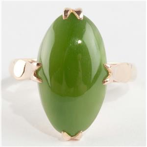 Ladies 18k Yellow Gold Vintage Style Nephrite Jade Solitaire Ring 8.5ct