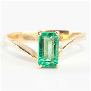 Ladies Stunning 18k Yellow Gold Emerald Cut Emerald Solitaire Ring 1.0ct