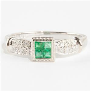 Ladies 14k White Gold Square Cut Invisible Set Emerald & Diamond Ring .28ctw