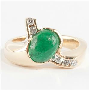 14k Yellow Gold Oval Cabochon Cut Emerald Solitaire Ring W/ Diamonds 2.18ctw