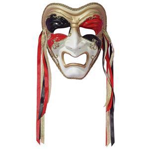 Tri-Color Black Red Gold Tragedy Venetian Masquerade Mardi Gras Mask