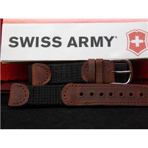 Swiss Army Watch Cavalry Style 16mm Wide Ladies Brown Leather / Black Mesh Strap