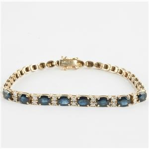 "Ladies 14k Yellow Gold Oval Cut ""AA"" Sapphire & Diamond Tennis Bracelet 3.78ctw"
