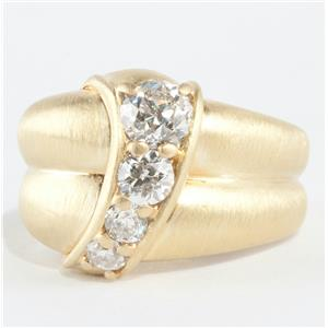 Ladies Jose Hess 18k Yellow Gold Diamond Cocktail Ring W/ Brushed Finish 1.27ctw