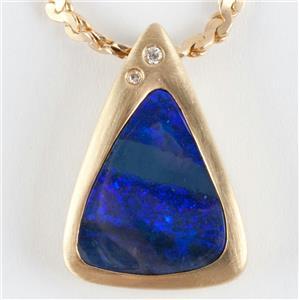 """Ladies 18k & 14k Yellow Gold Boulder Opal & Diamond Pendant W/ 18"""" Chain"""
