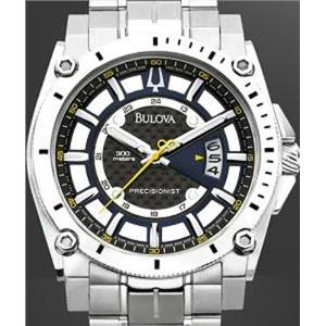 Bulova Men's 96B131. Precisionist Champlain Blue Dial Steel Bracelet Watch.