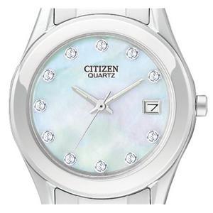 Citizen Women's EU2660-50D. Crystal Silver Tone Stainless Steel Bracelet. Pearl Dial Watch.