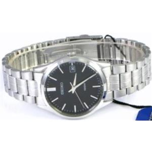 Seiko Men's SGEF01. Silver Tone Stainless Steel Case/Bracelet. Black Dial Watch. 100m Water Resistan