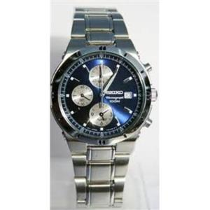 Seiko SNA695. Chrono.Alarm.3 Subdials.Blue Dial.Luminous Hands.Silver-Tone Stainless Case/Bracelet.