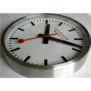 Mondaine A990.CLOCK.16SBB. Classic Official Railroad Wall Clock. White Dial. Black Hands.Stainless C