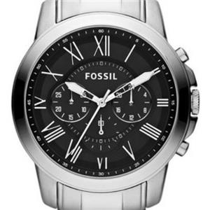 """Fossil FS4736. """"Grant"""". Classic Appeal. Chronograph. Calendar.Roman Numerals.Black Dial.Stainless St"""