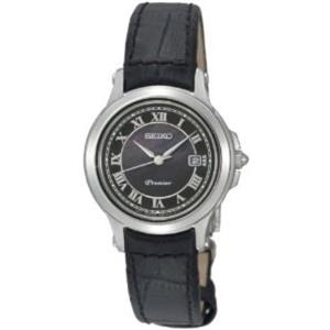 Seiko SXDE05P1.Ladies Premier Collection.Mop Dial.Roman Numerals.Black Leather Strap.100m Resist.
