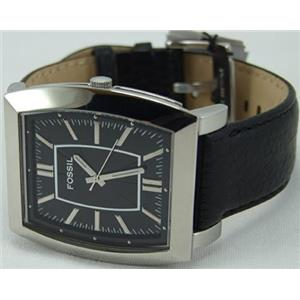 Fossil FS4346. Men's Dress Watch. Black Leather Strap/Dial. 3 Hands. 50m Water Resist.