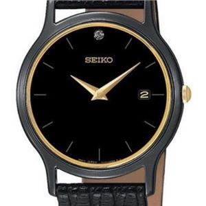 Seiko SKP333. Men's Dress Watch. Diamond Dial. Titanium Carbide Case. Black Leather Strap
