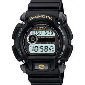 Casio G-Shock DW9052-1B. Shock Resistant. 200M WR.Countdown Timer. Blk Strap w/Gold G