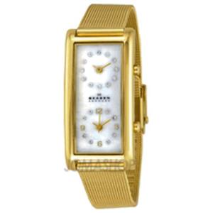 Skagen 20sggw. Ladies Dual Time Two Face Watch. Gold Tone Case and Mesh Clip Bracelet. MOP Dial With