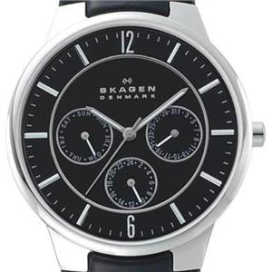 Skagen 331XLSLB Denmark. Chronograph. Multi-function. Blk Dial w/Glo Hands. Blk Leather Strp.