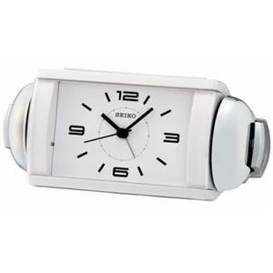Seiko QHK027WLH. Contemporary Clock w/ Loud Bell Alarm.Plastic Case. Black Hands. White Dial