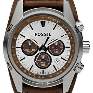 Fossil CH2565.Sporty Chronograph.Brown Leather Cuff.100m Resist.