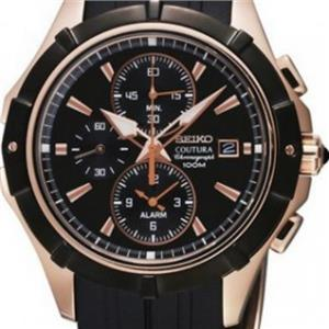 Seiko SNAF14 Coutura.Alarm.Chronograph.Black Dial.Rose/Gold Case.Black Rubber Band.100m Resist.