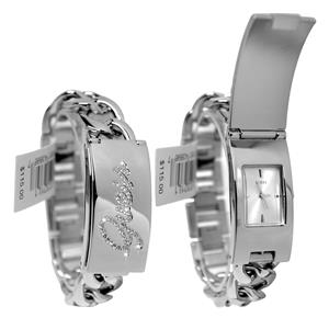 GUESS Women's U0321L1.Bling Silver-Tone ID Bracelet/Watch. Retangle Silver Dial.Self-Adjsutable Brac