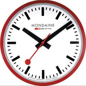 Mondaine A990.CLOCK.11SBB.Classic Official Railroad Wall Clock.White Dial.Black Hands.Red Metal Case