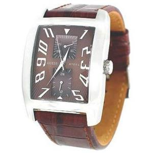 Guess Men's G85746G.Brown Textured Dial Dress Watch w/Crocodile Grain Leather Strap