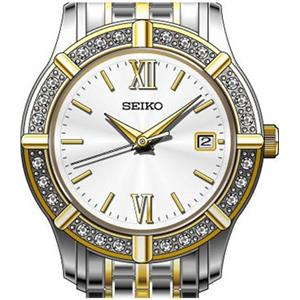 Seiko Women's SXDE50. Silver Dial, Crystal Adorned Bezel. Two Tone Stainless Steel Case/Band.