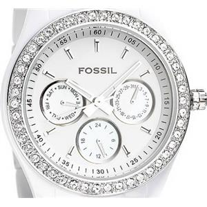 Fossil ES3095 Bling Accents. Mop Multi-Function Subdials. White link Bracelet.
