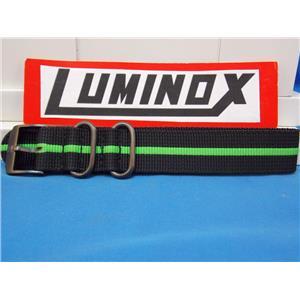 Luminox Watch Band. Nato Regimental Stripe. Black Green 22mm w/ Gun Metal Hardware
