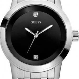 Guess Men's U11576G1.Black Dial Dress Watch.Two Diamond Dial.Silver Tone Stainless Steel Case/Bracel