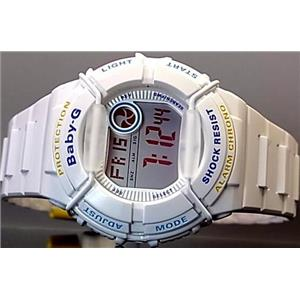 Casio Baby-G BGD-120P-7ADR. World Time Chronograph. Grey Dial. White Resin Band. 200m Resist