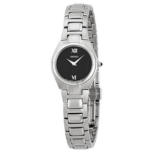 Seiko Women's SUJD53. Silver Stainless Steel Bracelet. Black Dial Watch.